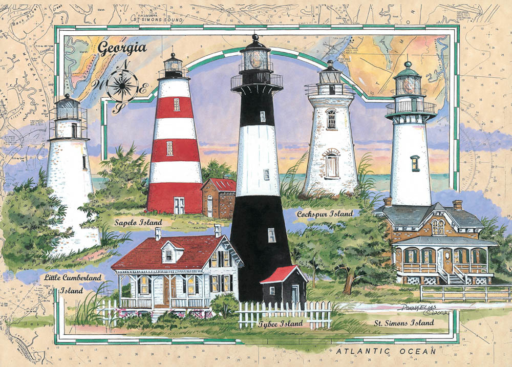 Lighthouses Of Georgia Puzzle Jigsaw Puzzles