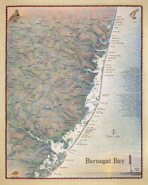 Barnegat bay and the central jersey coast waterways map for Barnegat bay fishing