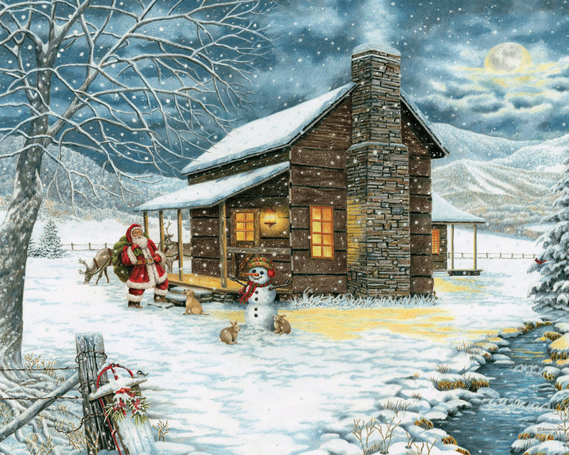 Mountain Christmas.A Smoky Mountain Christmas 1000 Piece Puzzle
