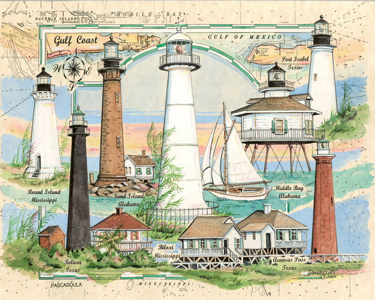 10527 Lighthouses of the Gulf of Mexico