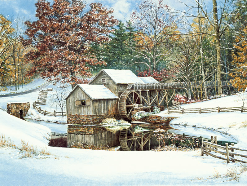 50521 First Snow at Mabry Mill